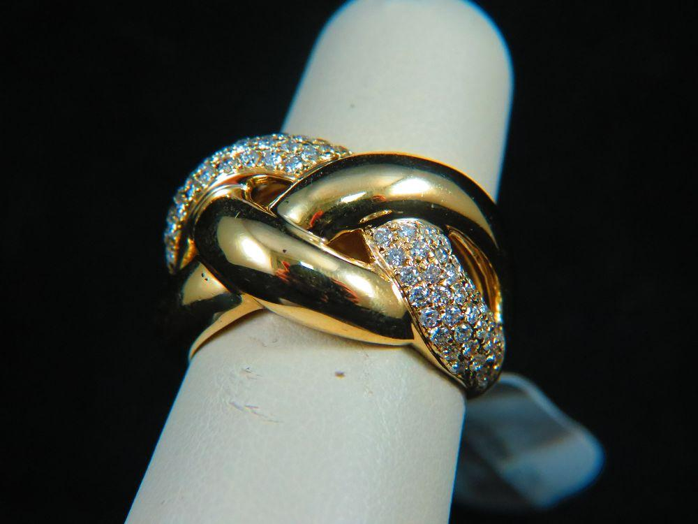 14K Yellow Gold Braided Diamond Ring