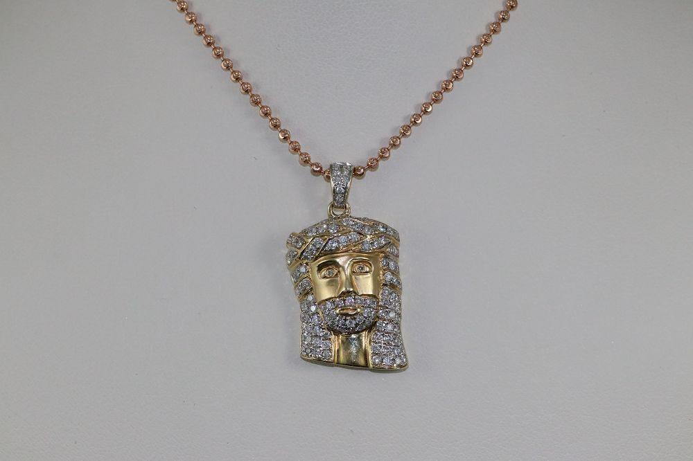 14K Yellow Gold Diamond Jesus Pendant