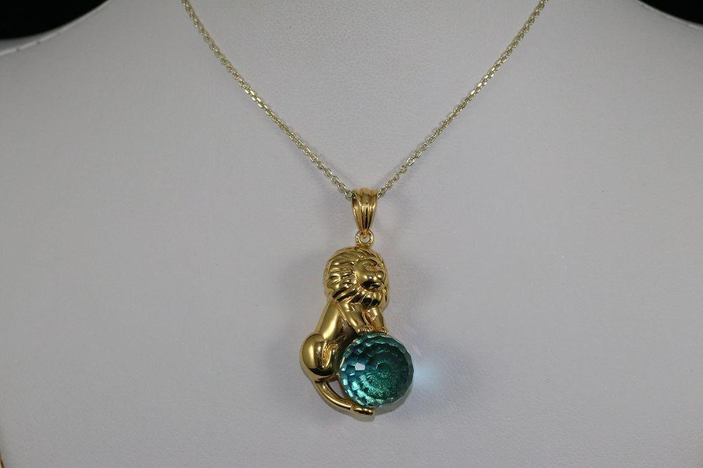 14K Yellow Gold Blue Topaz Lion Pendant