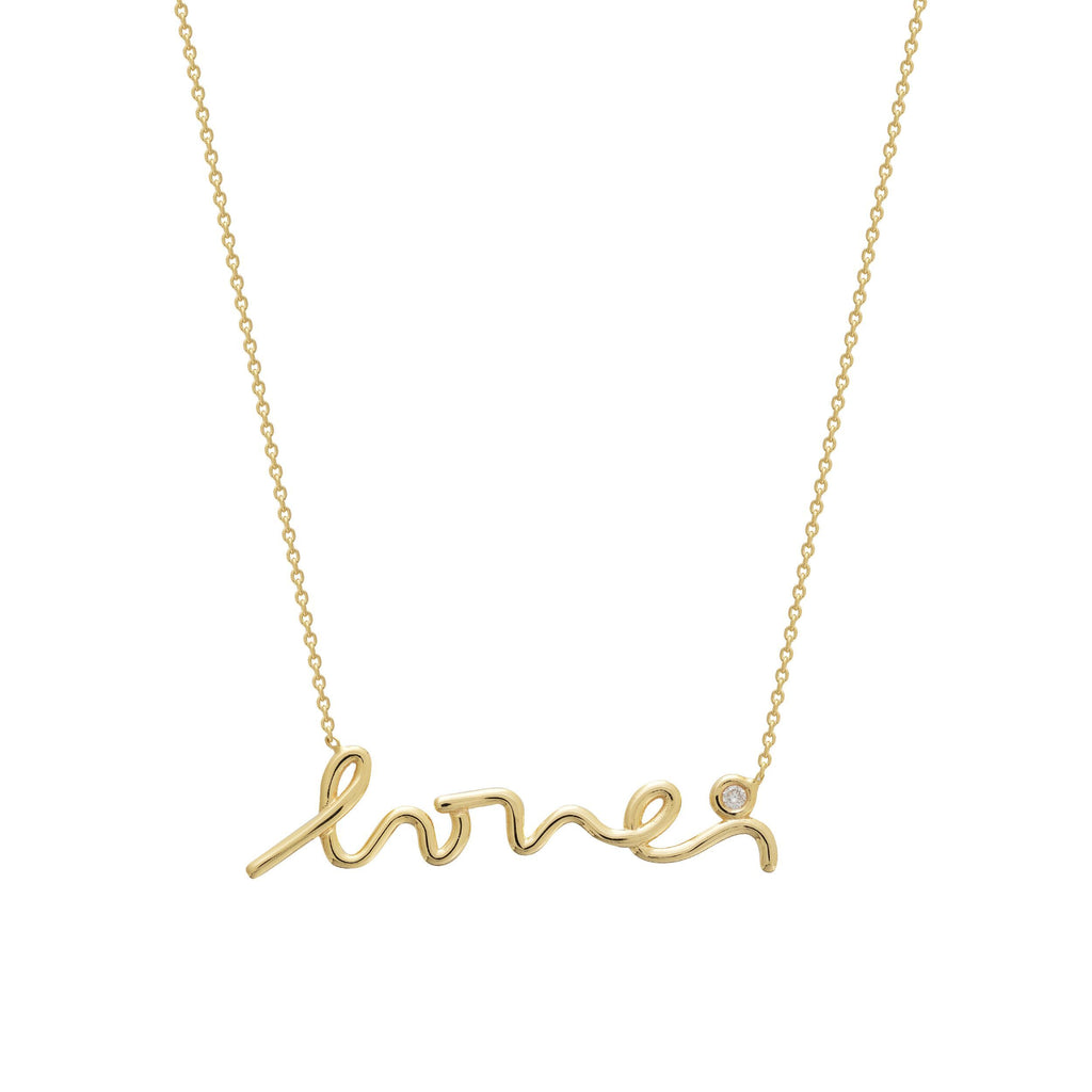 "14K Yellow Gold 3PT Diamond  ""Love""  Scirpt Necklace"