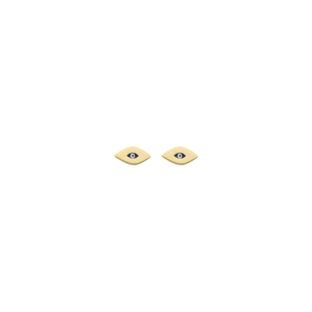 14K Yellow Gold Mini Evil Eye Stud Earrings