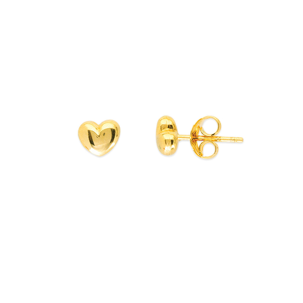 14K Gold Puff-Heart Stud Earrings