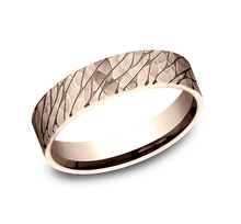 Load image into Gallery viewer, 5mm Rose Gold Hammered Pebbled Finish Sculpted Men's Wedding Ring