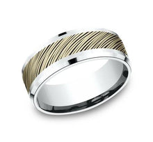 Load image into Gallery viewer, 8mm White Gold Diagonal Bark Sculpted Men's Wedding Ring