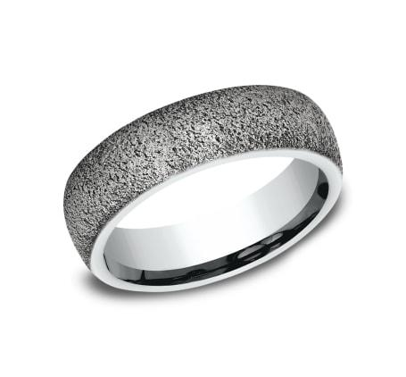 6mm White Gold Textured Stone Finish Sculpted Men's Wedding Ring