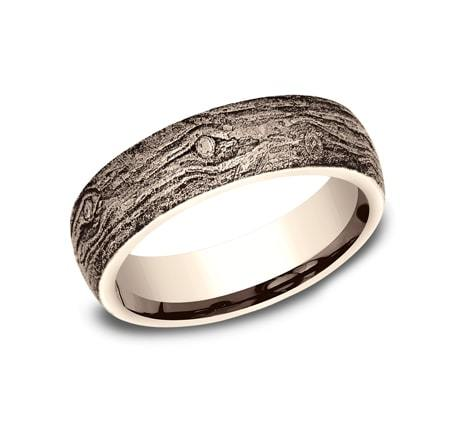 6mm Rose Gold Wood Motif Sculpted Men's Wedding Ring