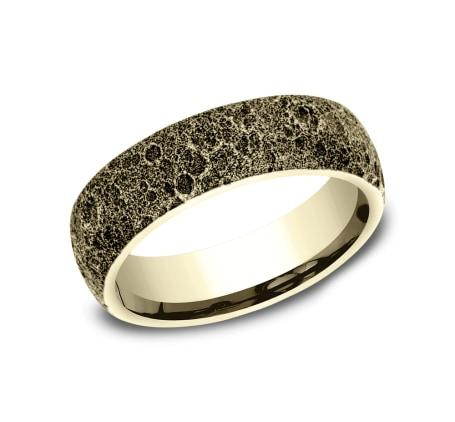 6mm Yellow Gold Moon Rock Sculpted Men's Wedding Ring
