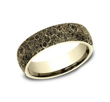 Load image into Gallery viewer, 6mm Yellow Gold Moon Rock Sculpted Men's Wedding Ring