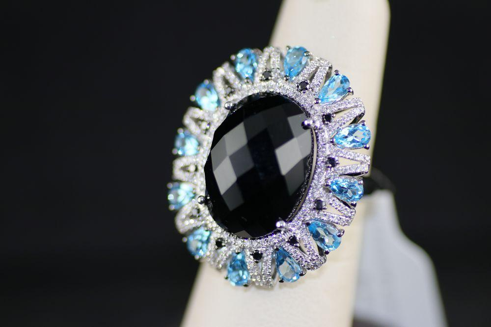 Onyx Center Stone Ring with Diamonds and Blue Topaz