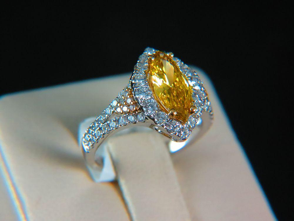 18K White Gold Fancy Deep Yellow Diamond Engagement Ring