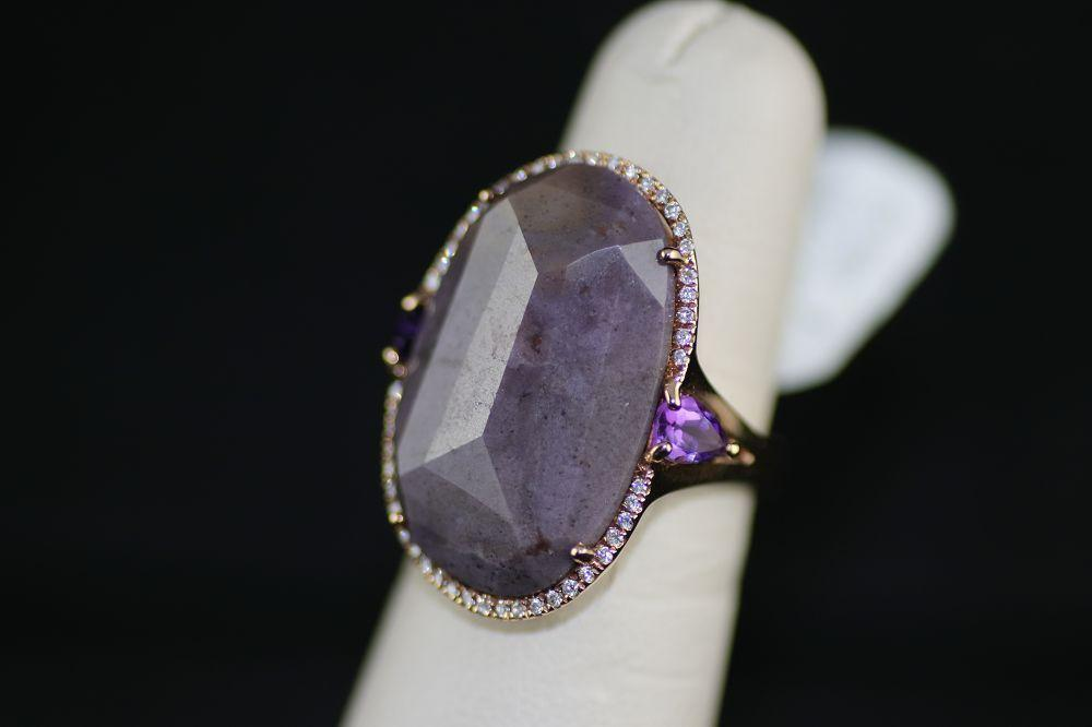 18K Rose Gold Lavender Jade Ring