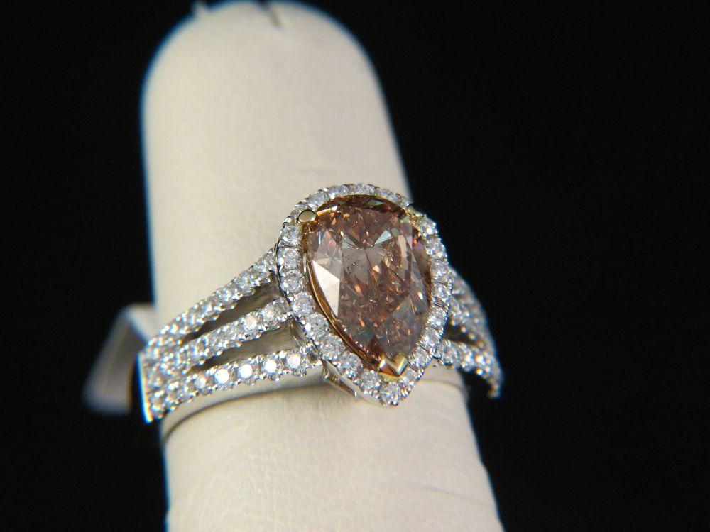 18K White Gold Fancy Dark Orange Brown Engagement Ring