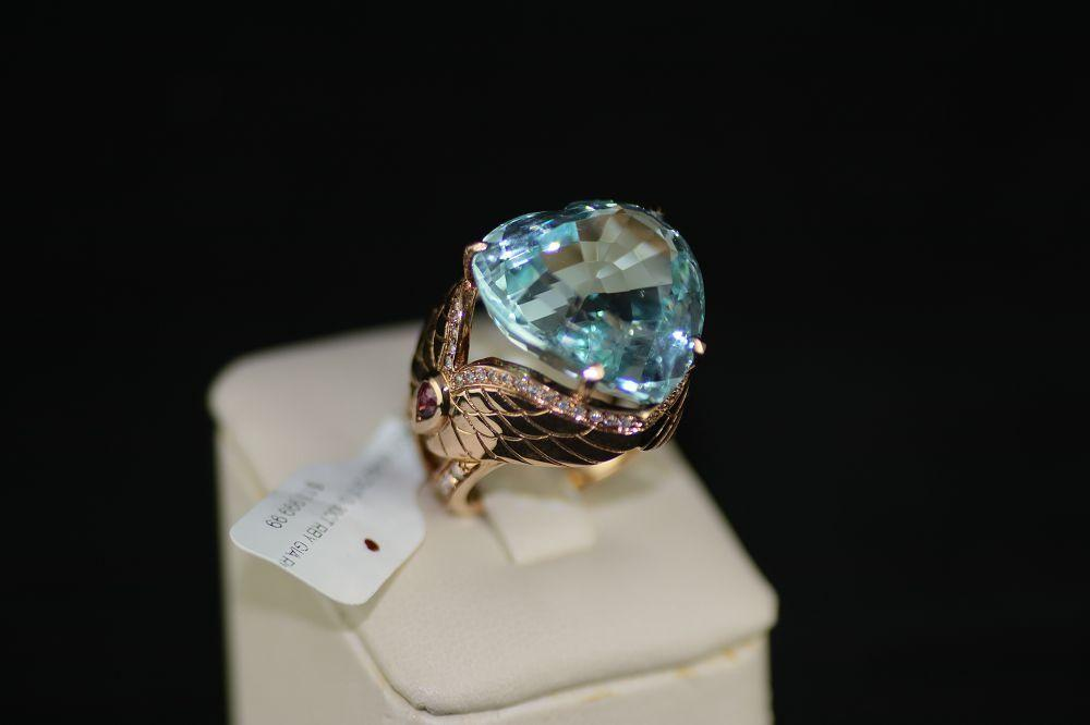 18K Rose Gold Aquamarine Ring
