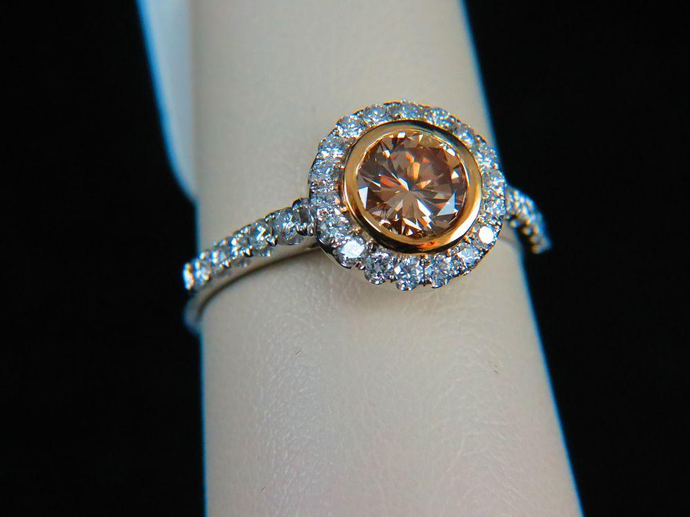 18K Gold Fancy Light Yellowish Brown Diamond Engagement Ring