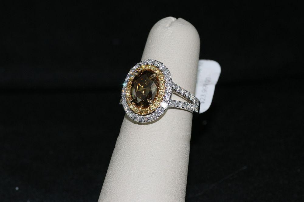 18K Gold Fancy Deep Brown-Yellow Diamond Center Stone Ring