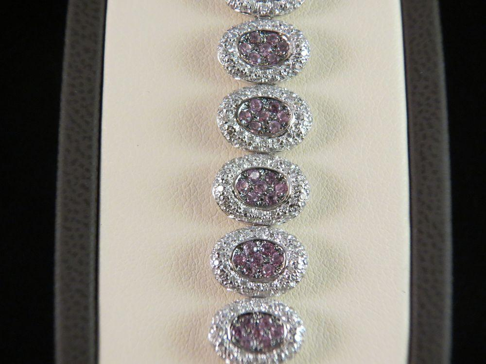 18K White Gold Pink Sapphire and Diamond Bracelet
