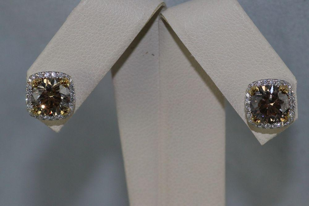 18K White and Yellow Gold Fancy Yellowish Brown Diamond Earrings