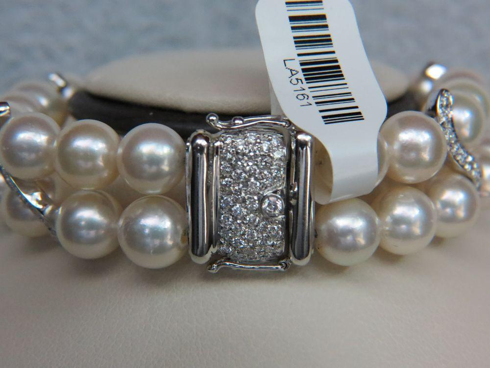 18K White Gold Two Row Pearl Bracelet