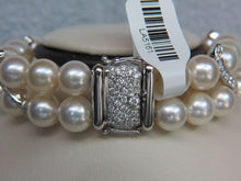 Load image into Gallery viewer, 18K White Gold Two Row Pearl Bracelet
