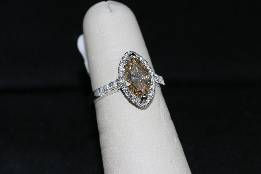 18K White Gold Fancy Brown Yellow Diamond Center Stone Ring
