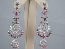 Load image into Gallery viewer, 18K White Gold Diamond and Pink Sapphire Chandelier Earrings