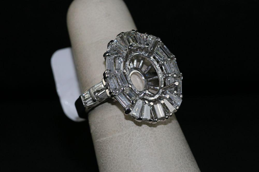 18K White Gold Engagement Ring Semi-Mount