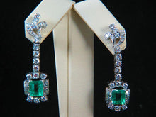 Load image into Gallery viewer, 18K White Gold Diamond and Emerald Earrings