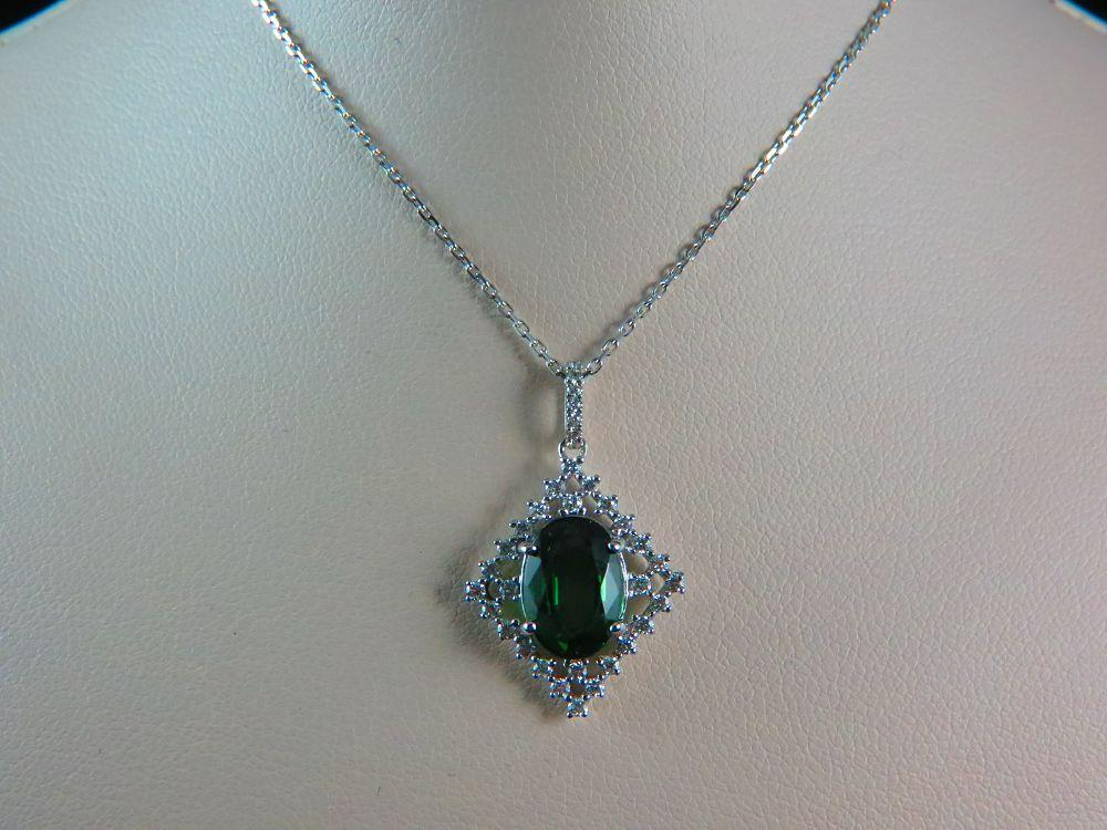 18 Karat White Gold Green Tourmaline Pendant