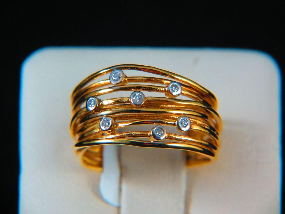 18K Yellow Gold Ladies Diamond Ring