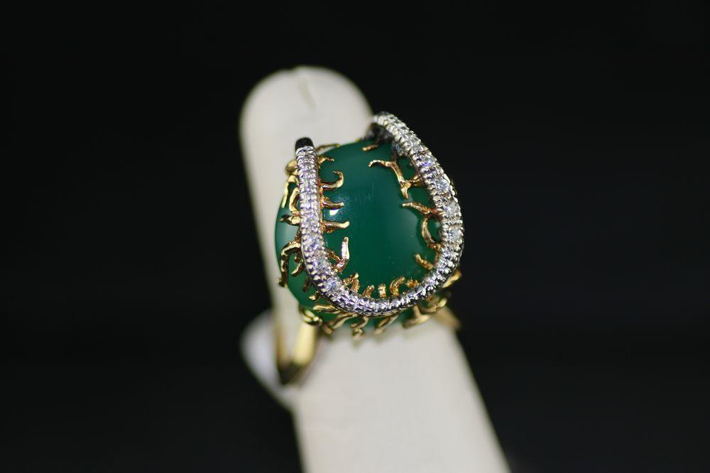 18K Yellow Gold Jade Horseshoe Ring