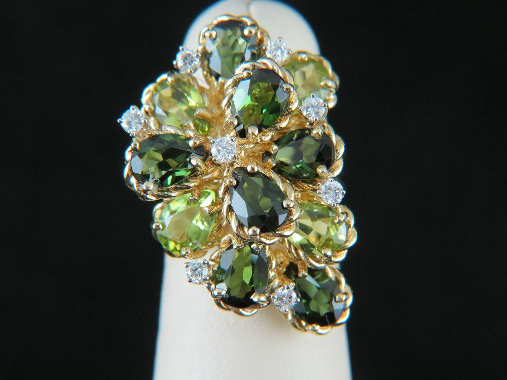 18K Yellow Gold Green Tourmaline and Peridot Ring