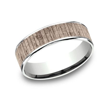 6.5mm White Gold Wood Split Sculpted Men's Wedding Ring