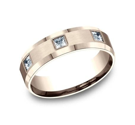 6mm Rose Gold Princess-Cut Diamond Men's Eternity Band