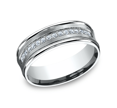 7.5mm White Gold Men's Wedding Band