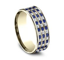 Load image into Gallery viewer, 8mm Sapphire & Diamond Comfort-Fit Band
