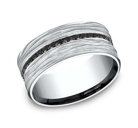 9mm White Gold Men's Black Diamond Wedding Band