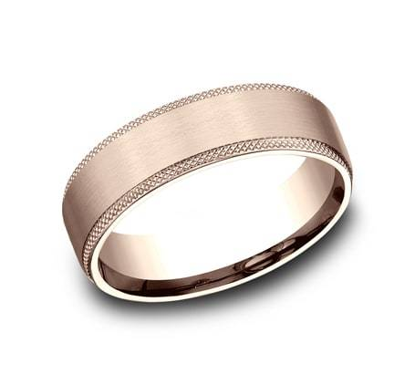 6.5mm Rose Gold Knurled Edge Sculpted Men's Wedding Ring