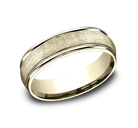 6.5mm Yellow Gold Fiberglass Swirl Sculpted Men's Wedding Ring
