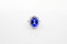 Load image into Gallery viewer, Custom White Gold Tanzanite Halo Ring