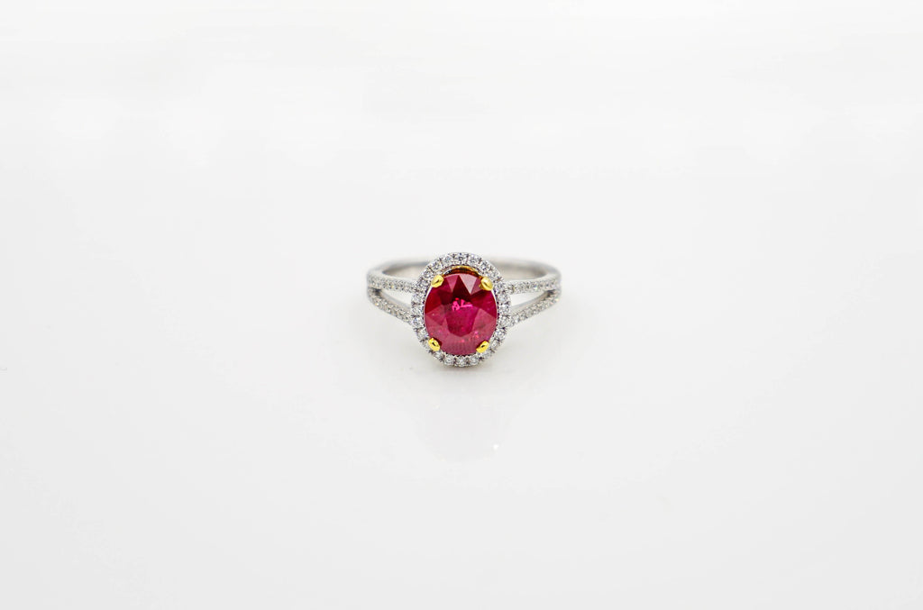 White/Yellow Gold Ruby Ring