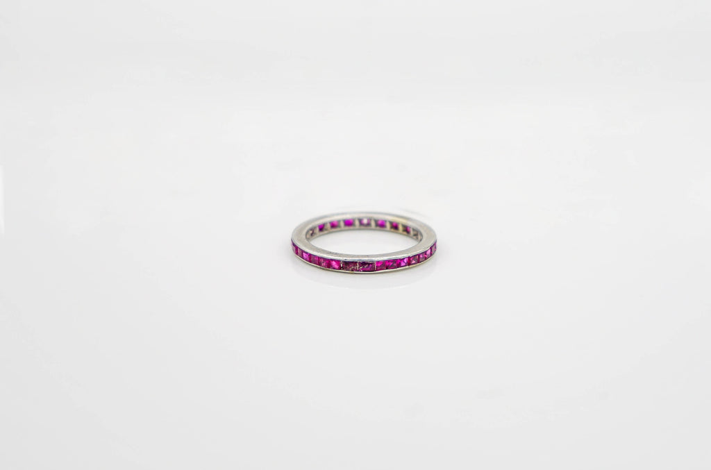White Gold Ruby Eternity Band