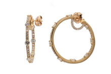 Load image into Gallery viewer, Rose Gold In/Out Diamond Hoops