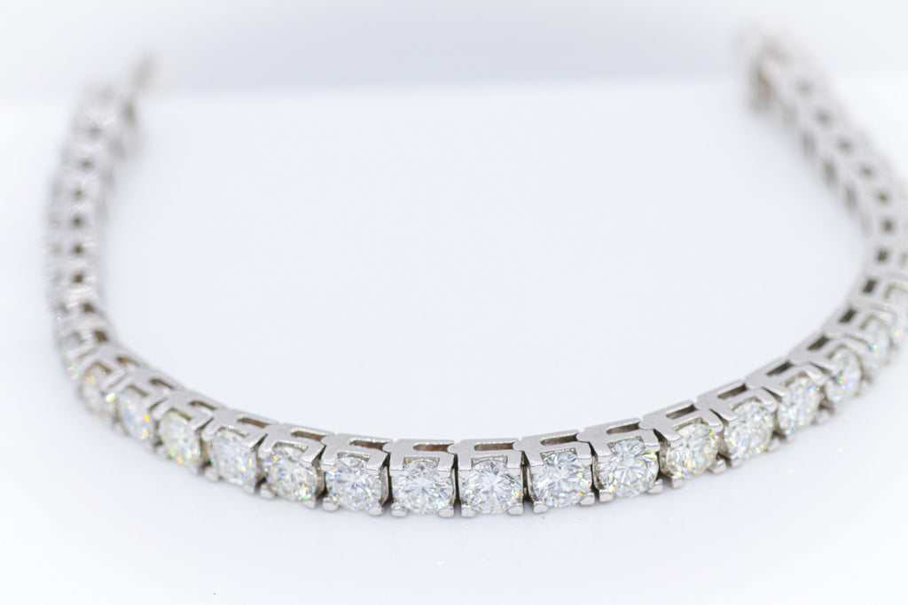 Custom Round Diamond White Gold Tennis Bracelet