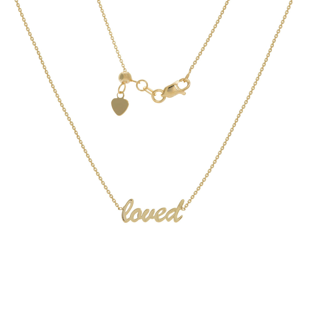 "14K Gold ""Loved"" Scripted Choker"