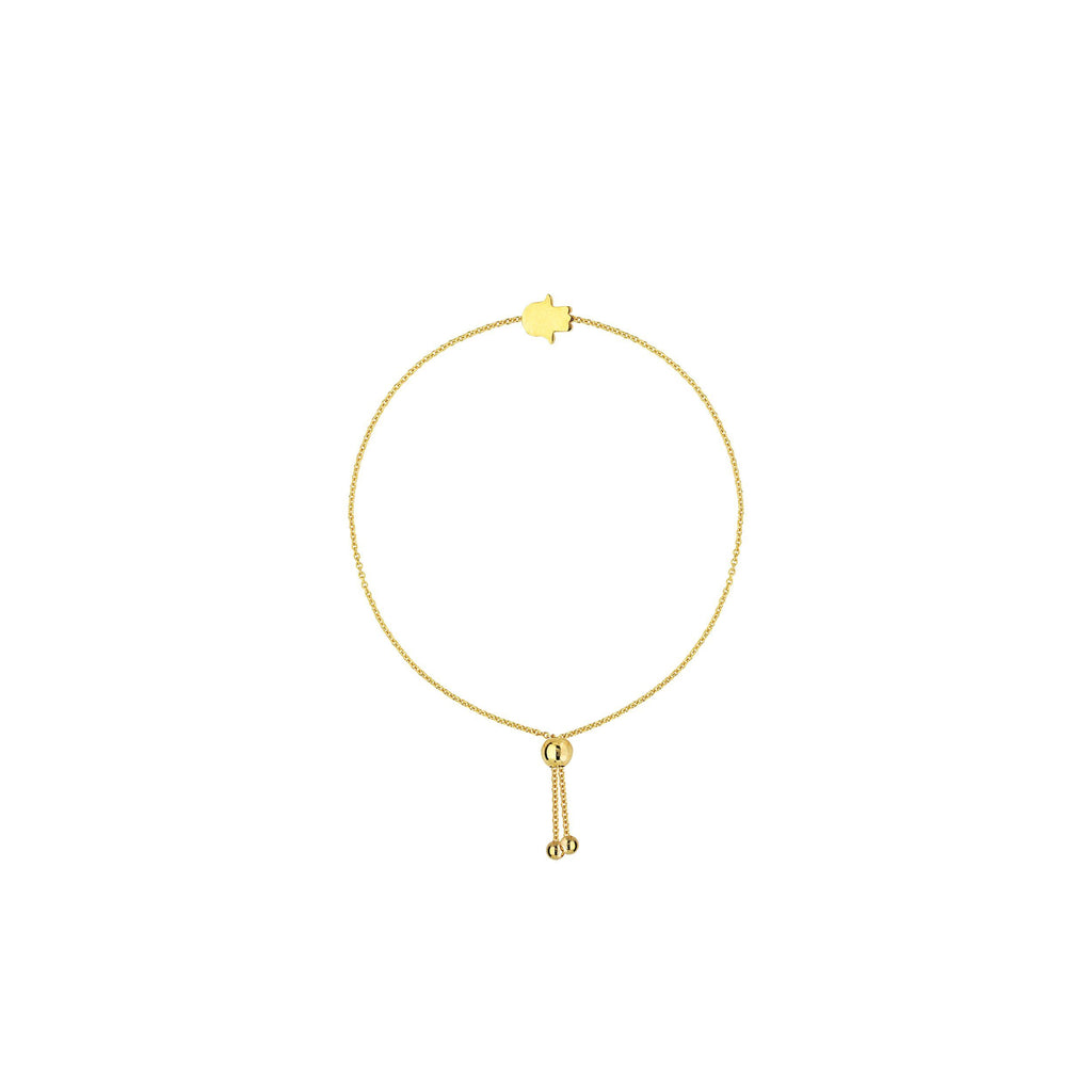 14K Gold Mini Hamsa Adjustable  Bracelet