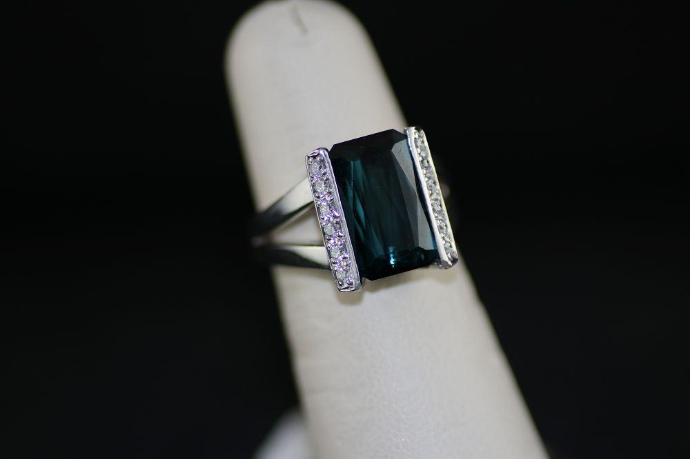 Platinum Dark Green Blue Tourmaline Ring