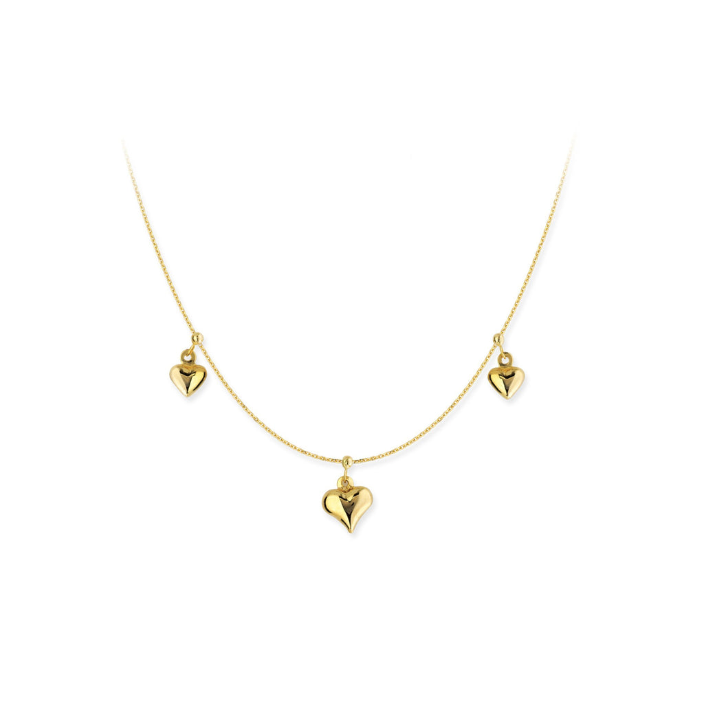 14K Gold Puffed-hearts Charm Necklace
