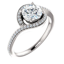 Load image into Gallery viewer, 14K White Round Bypass Halo-Style Engagement Ring Mounting