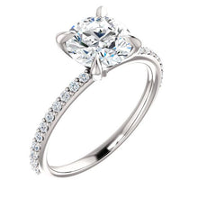 Load image into Gallery viewer, 14K White Round Engagement Ring Mounting