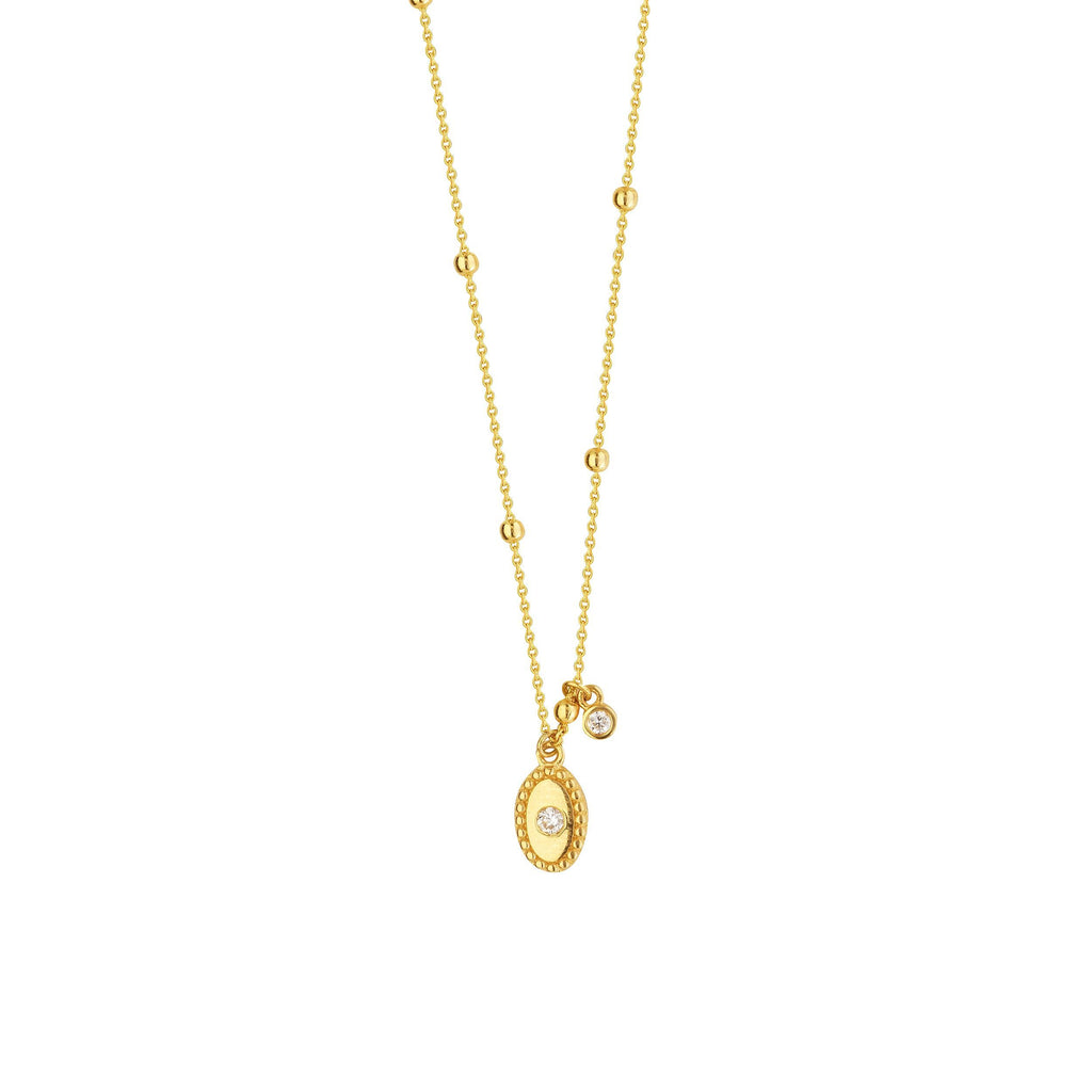 14K Yellow Gold Oval Charm Necklace